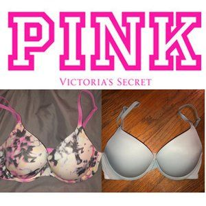 LOT 2 VS PINK WEAR EVERYWHERE PUSH UP BRA 32C